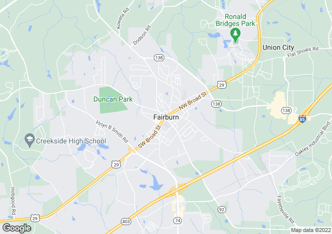 Map for USA - Georgia, Fulton County, Fairburn