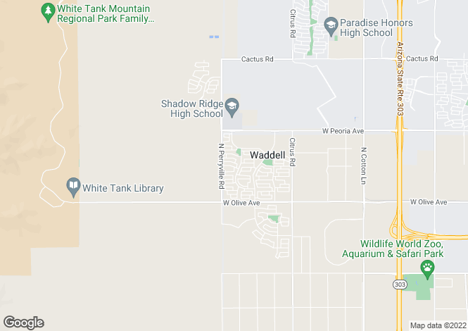 Map for Arizona, Waddell