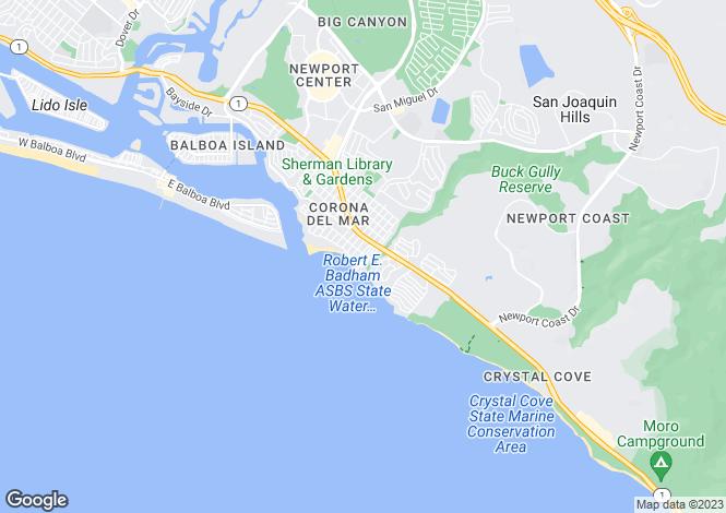Map for California, Corona Del Mar