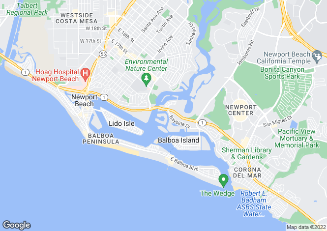 Map for California, Orange County, Newport Beach