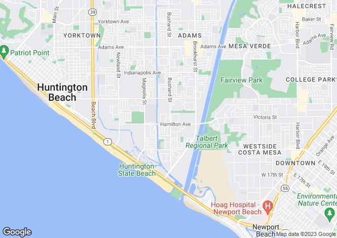 Map for USA - California, Orange County, Huntington Beach