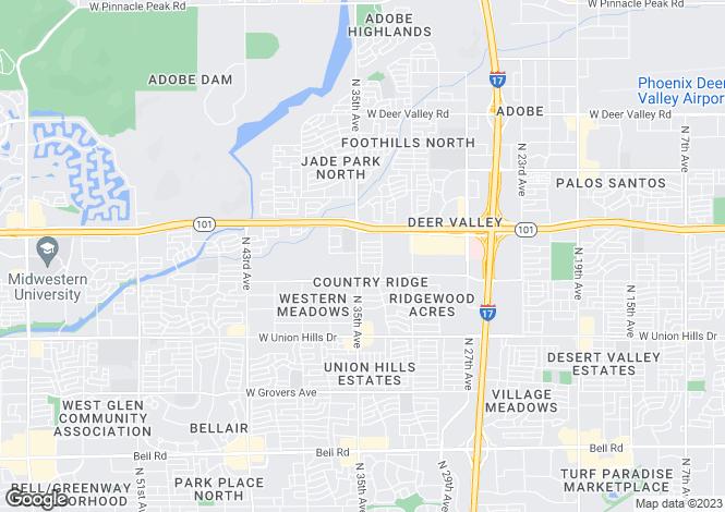 Map for Arizona, Maricopa County, Phoenix