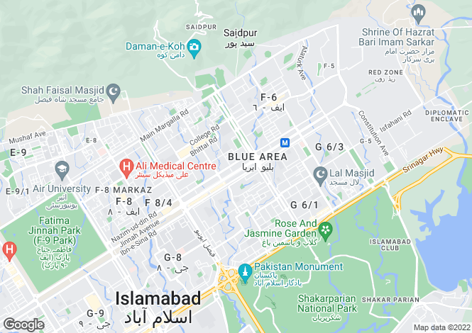 Map for Islamabad, Islamabad Capital Territory