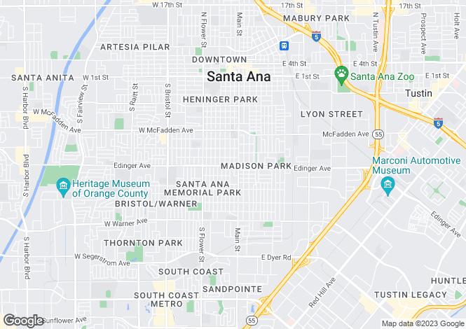 Map for California, Orange County, Santa Ana