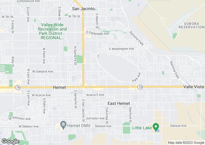 Map for California, Riverside County, Hemet