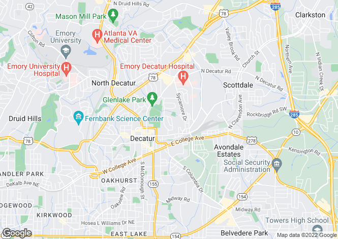 Map for USA - Georgia, DeKalb County, Decatur