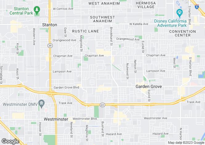 Map for USA - California, Orange County, Garden Grove