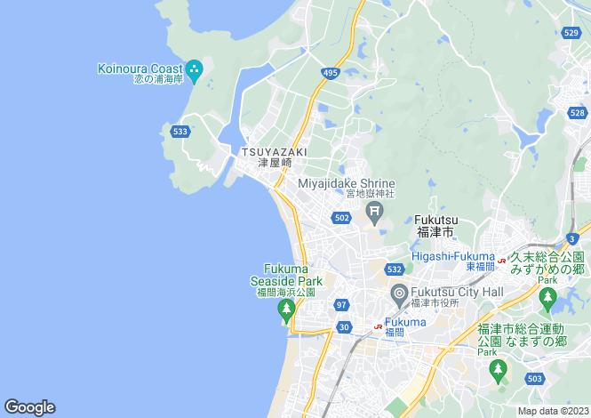 Map for Fukuoka, Tsuyazaki