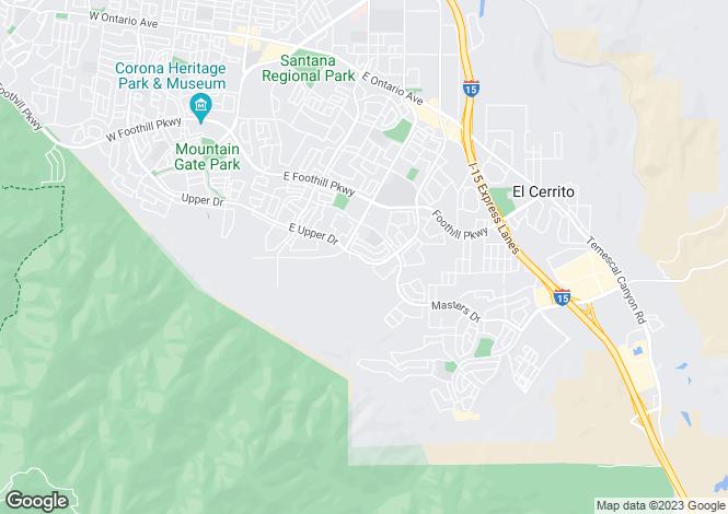 Map for California, Riverside County, Corona