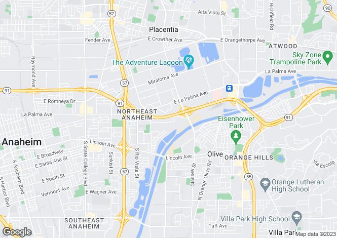 Map for California, Orange County, Anaheim