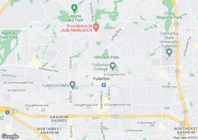 Map for California, Orange County, Fullerton