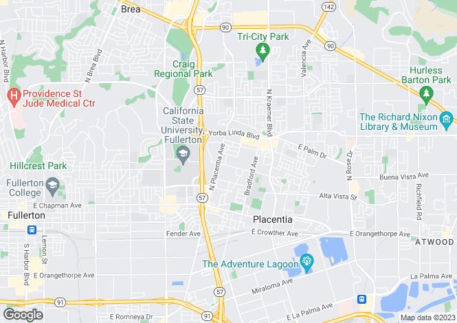 Map for California, Orange County, Placentia