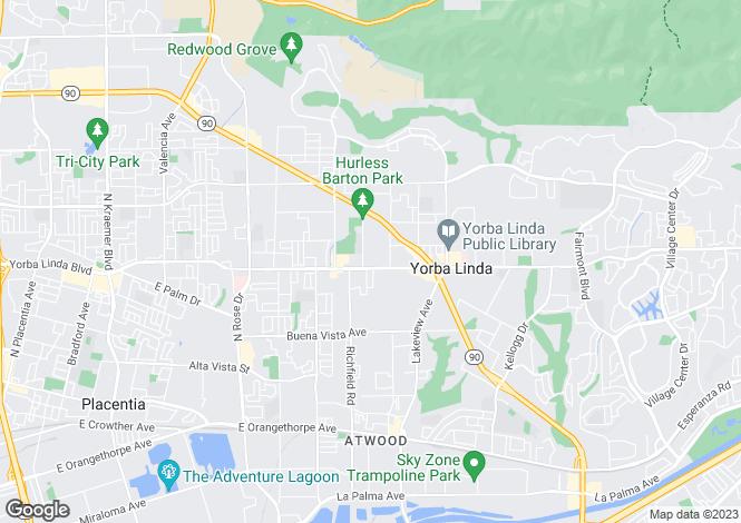 Map for USA - California, Orange County, Yorba Linda