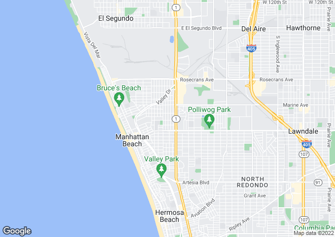 Map for California, Los Angeles County, Manhattan Beach