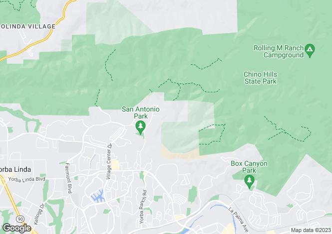 Map for California, Orange County, Yorba Linda