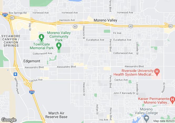 Map for California, Riverside County, Moreno Valley