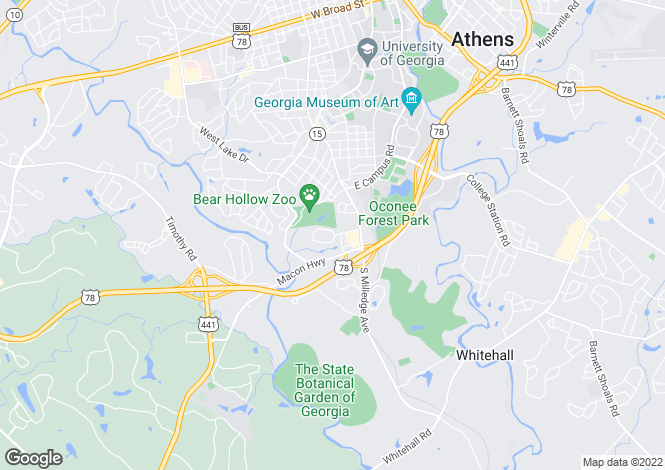 Map for USA - Georgia, Clarke County, Athens