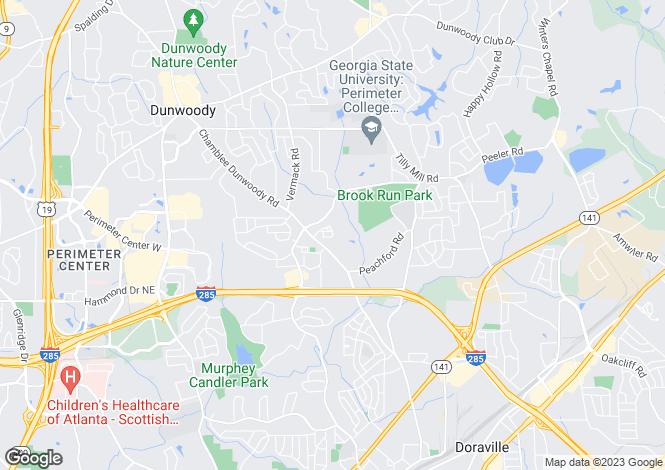 Map for USA - Georgia, DeKalb County, Dunwoody