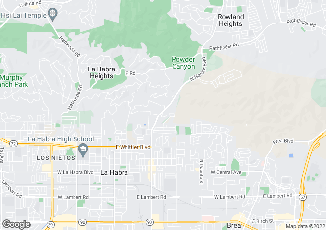 Map for California, Los Angeles County, La Habra Heights