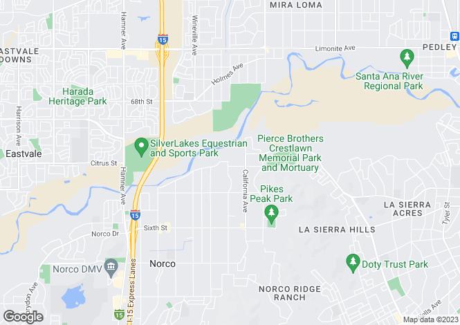 Map for USA - California, Riverside County, Norco