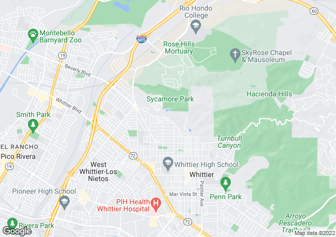Map for California, Los Angeles County, Whittier