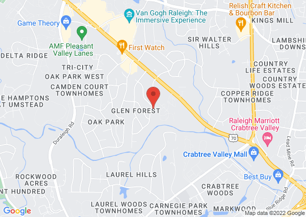 Map of 3305 Fairhill Dr, Raleigh, NC 27612, USA