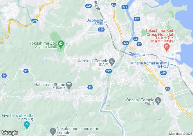 Map for Tokushima