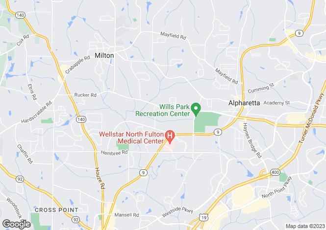 Map for USA - Georgia, Fulton County, Alpharetta