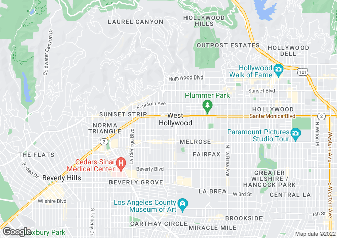 Map for The Desmond, West Hollywood, Los Angeles, California