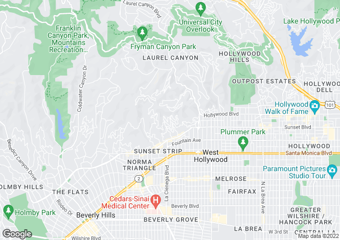 Map for Sunset Strip, Hollywood Hills West, Los Angeles, California