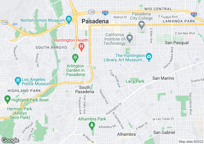 Map for USA - California, Los Angeles County, Pasadena