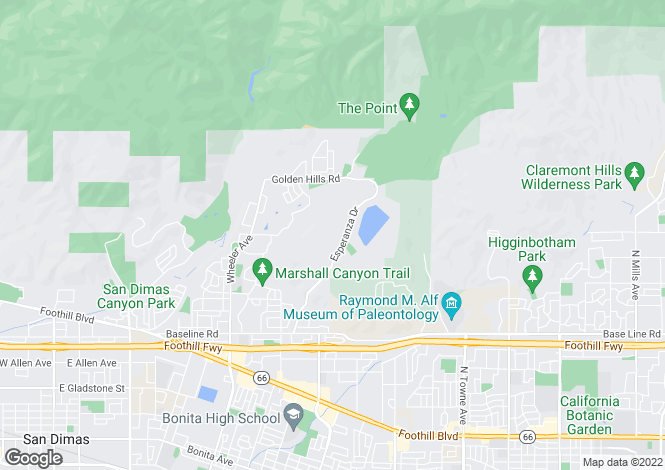 Map for California, Los Angeles County, La Verne