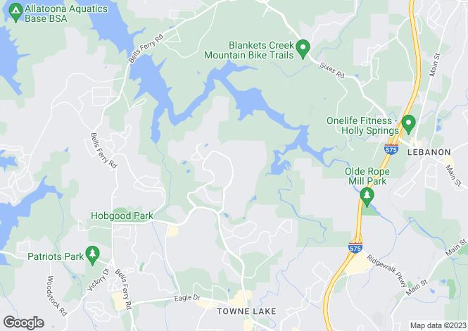 Map for USA - Georgia, Cherokee County, Woodstock
