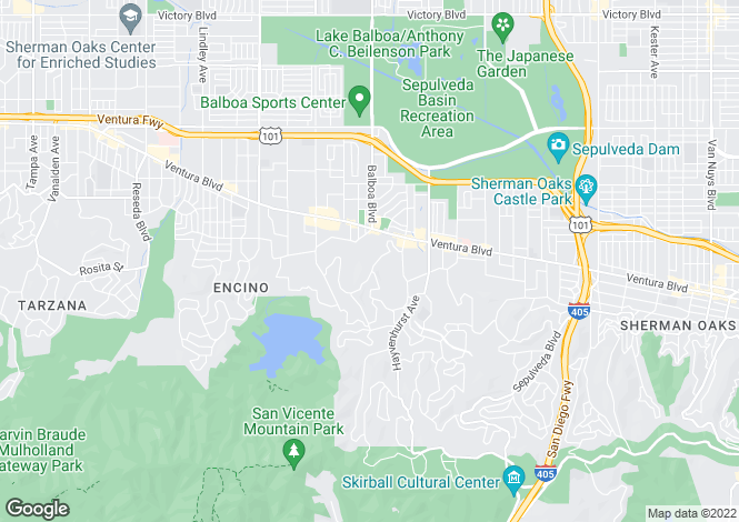 Map for USA - California, Los Angeles County, Encino