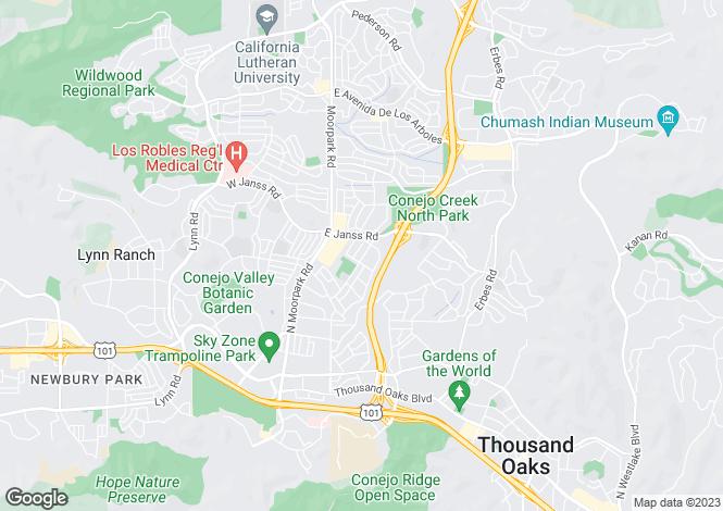 Map for California, Ventura County, Thousand Oaks