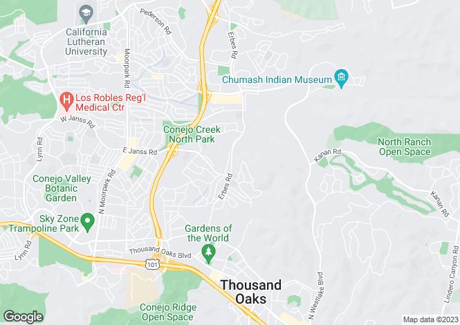 Map for USA - California, Ventura County, Thousand Oaks