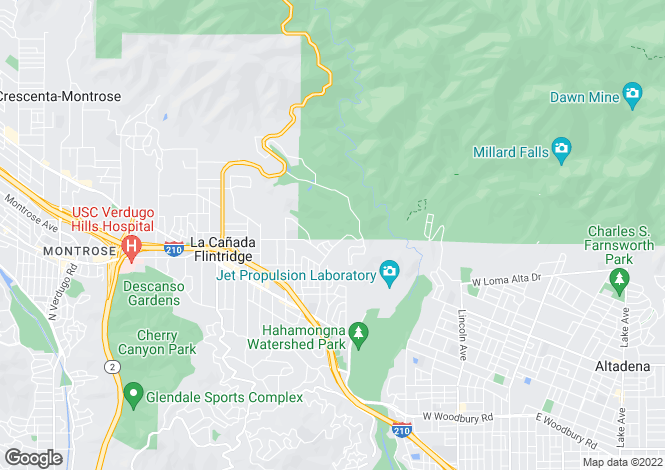 Map for USA - California, Los Angeles County, La Canada Flintridge