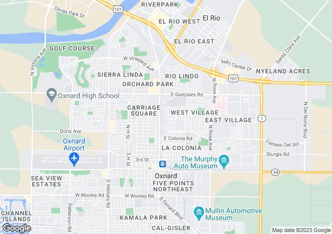 Map for California, Ventura County, Oxnard