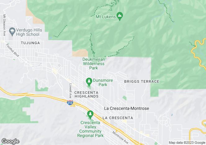 Map for USA - California, Los Angeles County, La Crescenta