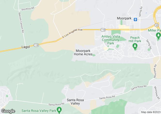 Map for California, Ventura County, Moorpark
