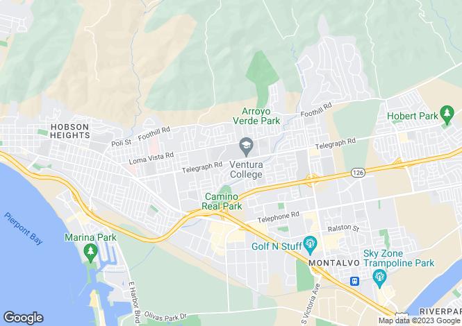 Map for California, Ventura County, Ventura