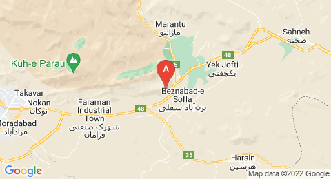 map of Mount Behistun (Iran)