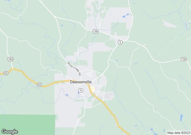Map for USA - Georgia, Dawson County, Dawsonville
