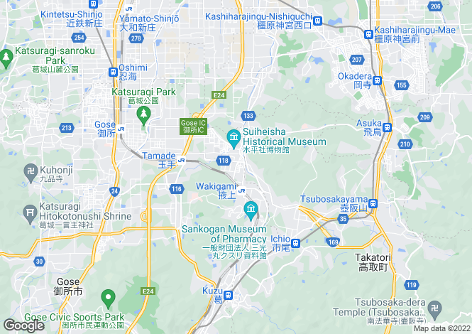 Map for Nara, Kashihara