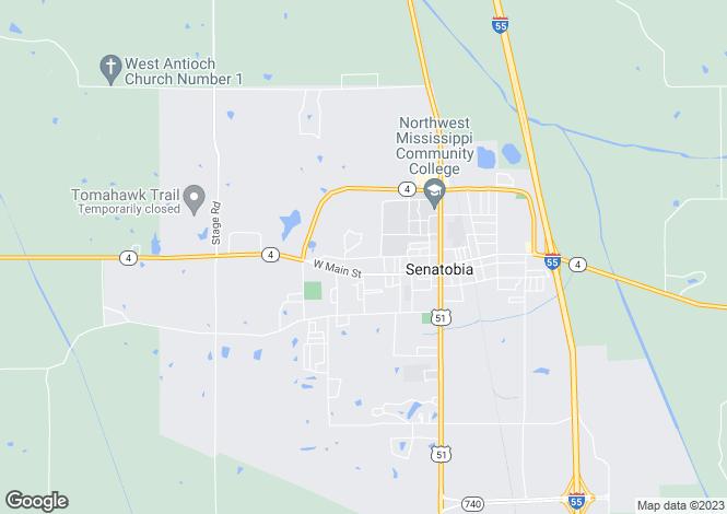 Map for Mississippi, Tate County, Senatobia