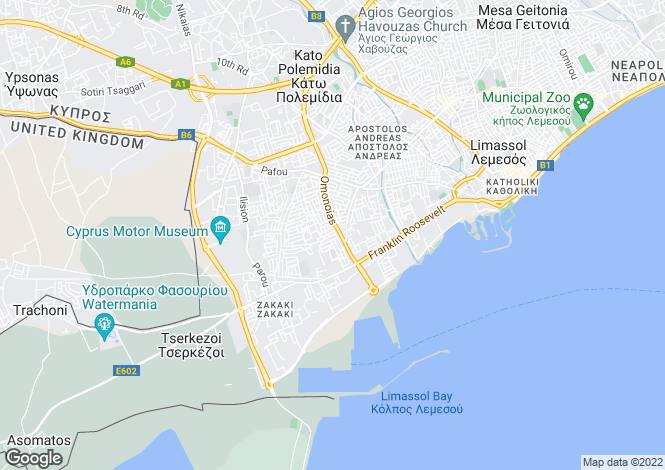 Map for Limassol, Omonoia