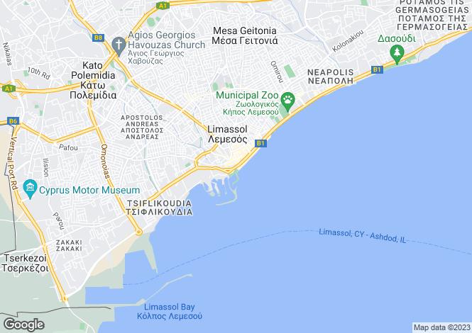 Map for Limassol Centre, Limassol, Cyprus