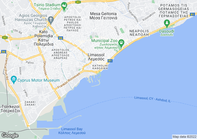 Map for Limassol Centre, Limassol, Cyprus