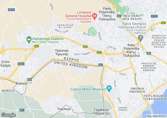 Map for Cyprus - Limassol, Ypsonas