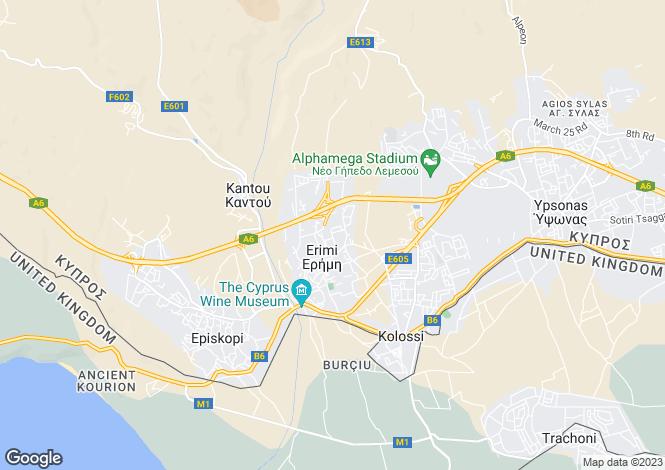 Map for Limassol, Erimi
